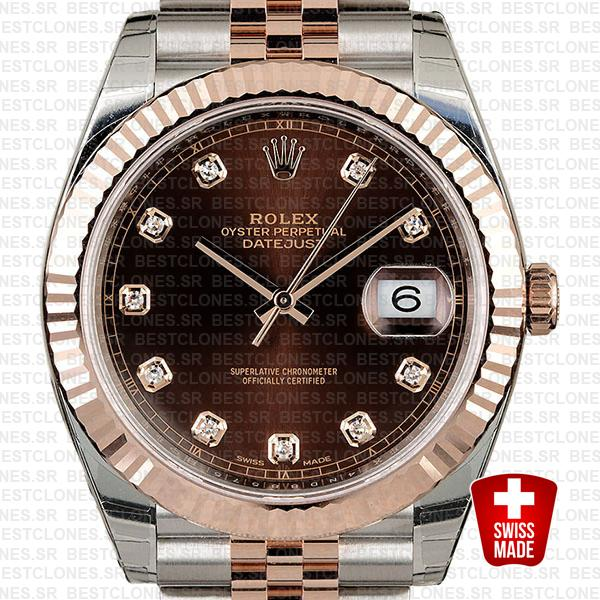Rolex Datejust 41 Jubilee 2 Tone 18k Rose Gold Fluted Bezel Chocolate Dial Diamond Markers 126331 Swiss Replica