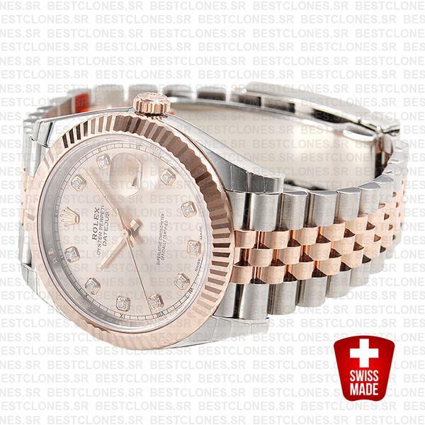 Rolex Datejust 41 Jubilee 2 Tone 18k Rose Gold Fluted Bezel Pink Sundust Dial Diamond Markers 126331 Swiss Replica
