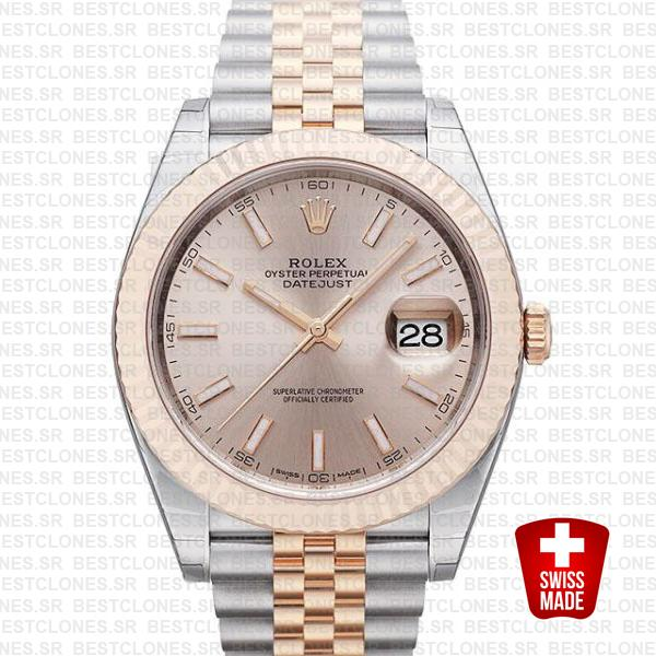 Rolex Datejust 41 Jubilee 2 Tone 18k Rose Gold Fluted Bezel Pink Sundust Dial Stick Markers 126331 Swiss Replica