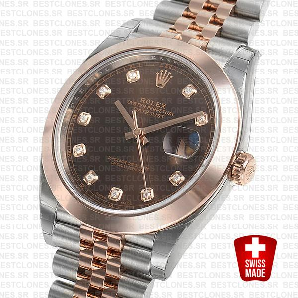 Rolex Datejust 41 Jubilee 2 Tone 18k Rose Gold Smooth Bezel Chocolate Dial Diamond Markers 126301 Swiss Replica