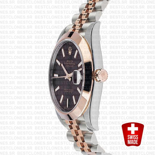 Rolex Datejust 41 Jubilee 2 Tone 18k Rose Gold Smooth Bezel Chocolate Dial Stick Markers 126301 Swiss Replica