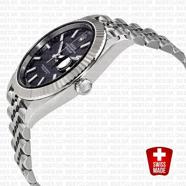 Rolex Datejust 41 Jubilee 2 Tone 18k White Gold Fluted Bezel Black Dial Stick Markers 126334 Swiss Replica