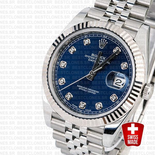 Rolex Datejust 41 Jubilee 2 Tone 18k White Gold Fluted Bezel Blue Dial Diamond Markers 126334 Swiss Replica