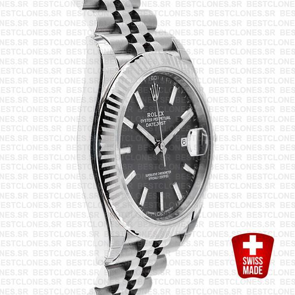 Rolex Datejust 41 Jubilee 2 Tone 18k White Gold Fluted Bezel Dark Rhodium Dial Stick Markers 126334 Swiss Replica