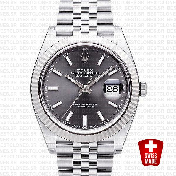 Rolex Datejust 41 Jubilee 2 Tone 18k White Gold Fluted Bezel Dark Rhodium Dial Stick Markers 126334 Swiss Replica
