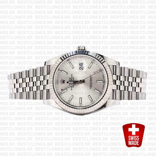 Rolex Datejust 41 Jubilee 2 Tone 18k White Gold Fluted Bezel Silver Dial Stick Markers 126334 Swiss Replica