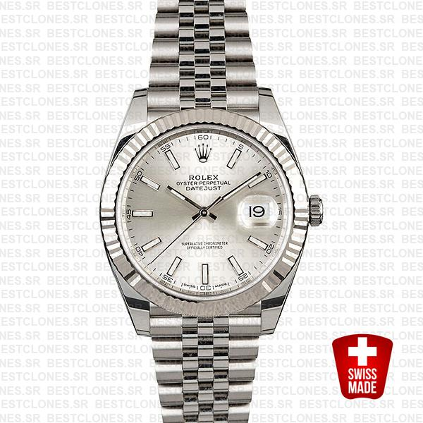 Rolex Datejust 41 Jubilee 2 Tone 18k White Gold Fluted Bezel Silver Dial Stick Markers 126334 Swiss Replica