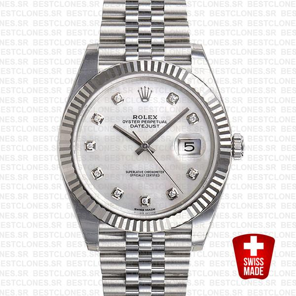 Rolex Datejust 41 Jubilee 2 Tone 18k White Gold Fluted Bezel White Mop Dial Diamond Markers 126334 Swiss Replica
