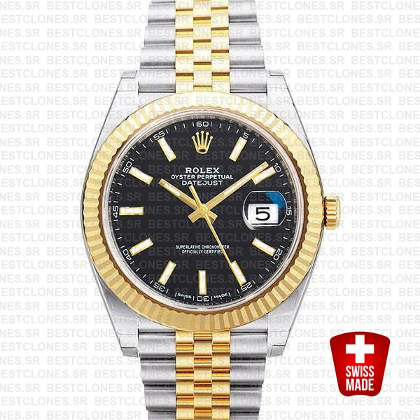 Rolex Datejust 41 Jubilee 2 Tone 18k Yellow Gold Flutted Bezel Black Dial Stick Markers 126333 Swiss Replica