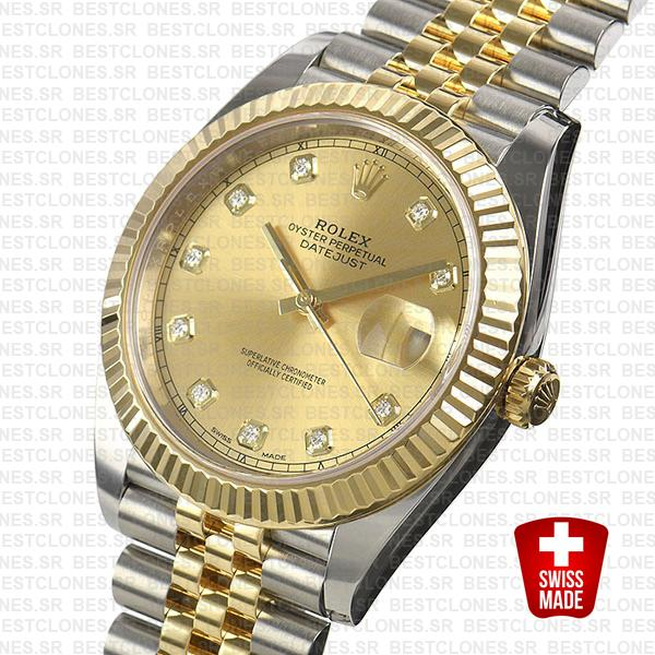 Rolex Datejust 41 Jubilee 2 Tone 18k Yellow Gold Flutted Bezel Gold Dial Diamond Markers 126333 Swiss Replica