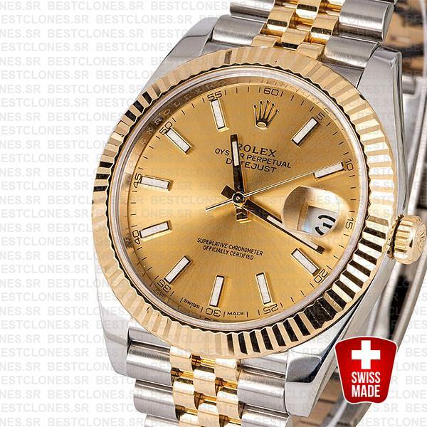 Rolex Datejust 41 Jubilee 2 Tone 18k Yellow Gold Flutted Bezel Gold Dial Stick Markers 126333 Swiss Replica