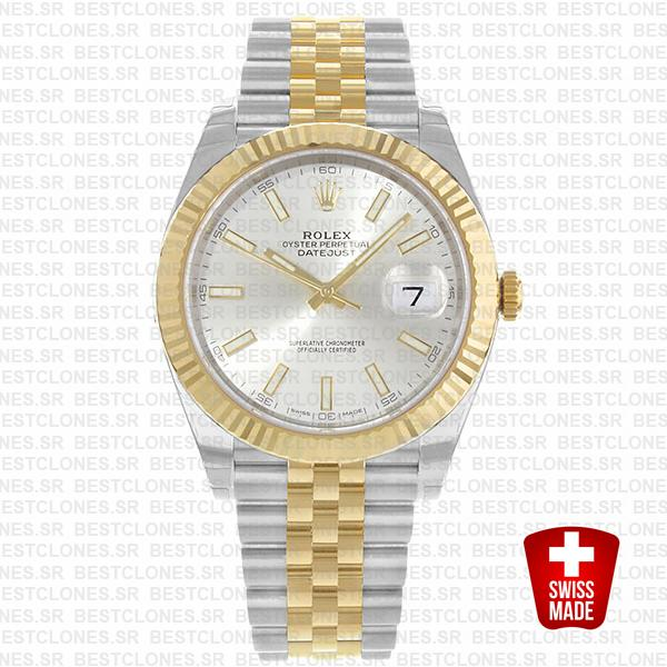 Rolex Datejust 41 Jubilee 2 Tone 18k Yellow Gold Flutted Bezel Silver Dial Stick Markers 126333 Swiss Replica