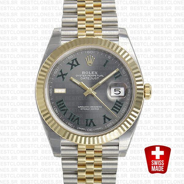 Rolex Datejust 41 Jubilee 2 Tone 18k Yellow Gold Flutted Bezel Slate Grey Dial Roman Markers 126333 Swiss Replica