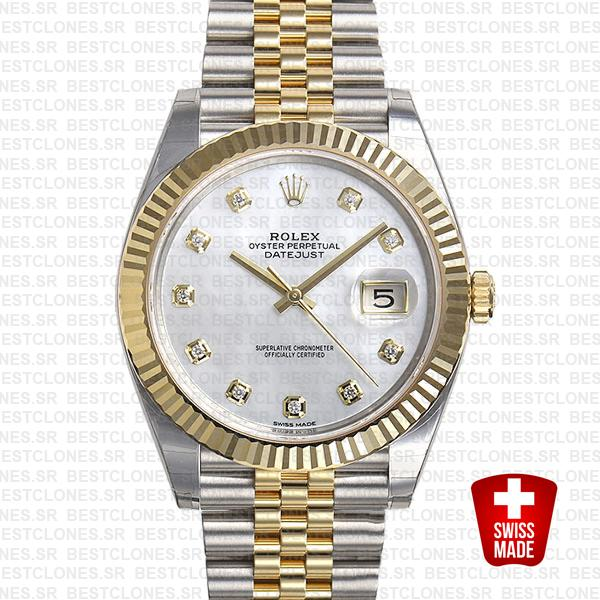Rolex Datejust 41 Jubilee 2 Tone 18k Yellow Gold Flutted Bezel White Mop Dial Diamond Markers 126333 Swiss Replica