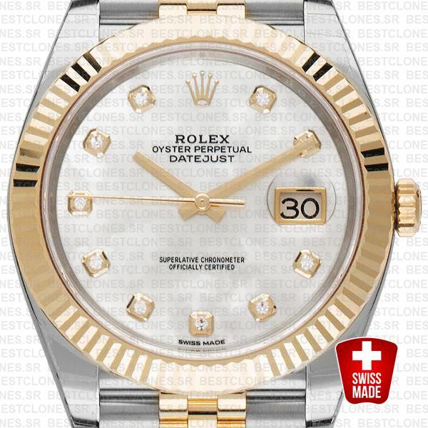 Rolex Datejust 41 Jubilee 2 Tone 18k Yellow Gold Flutted Bezel White Mop Dial Diamond Markers 126333 Swiss Replica