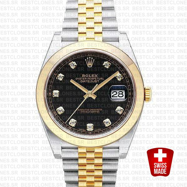 Rolex Datejust 41 Jubilee 2 Tone 18k Yellow Gold Smooth Bezel Black Dial Diamond Markers 126303 Swiss Replica
