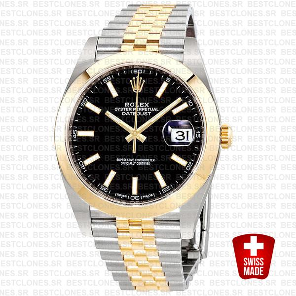 Rolex Datejust 41 Jubilee 2 Tone 18k Yellow Gold Smooth Bezel Black Dial Stick Markers 126303 Swiss Replica