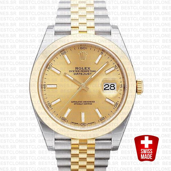 Rolex Datejust 41 Jubilee 2 Tone 18k Yellow Gold Smooth Bezel Gold Dial Stick Markers 126303 Swiss Replica