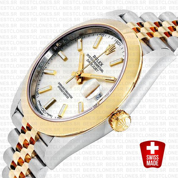 Rolex Datejust 41 Jubilee 2 Tone 18k Yellow Gold Smooth Bezel Silver Dial Stick Markers 126303 Swiss Replica