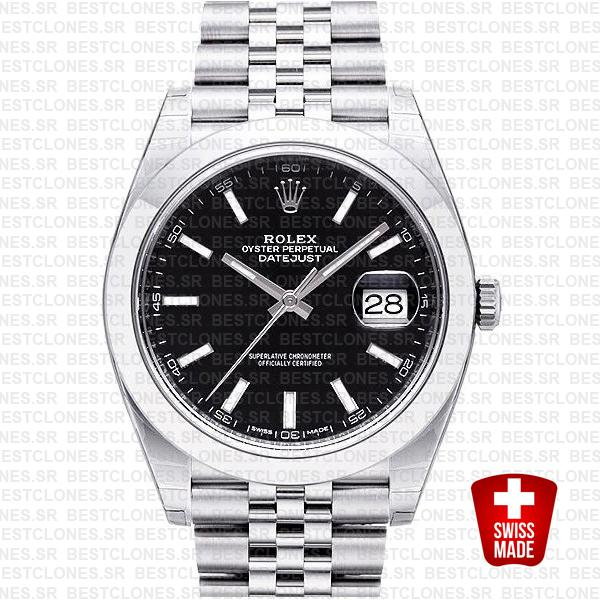 Rolex Datejust 41 Jubilee Steel Smooth Bezel Black Dial Stick Markers 126300 Swiss Replica