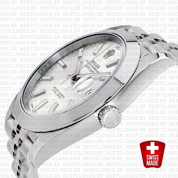 Rolex Datejust 41 Jubilee Steel Smooth Bezel Silver Dial Stick Markers 126300 Swiss Replica