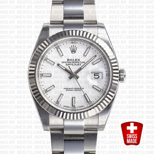 Rolex Datejust 41 Oyster 18k W Gold Fluted Bezel White Dial Stick Markers 126334