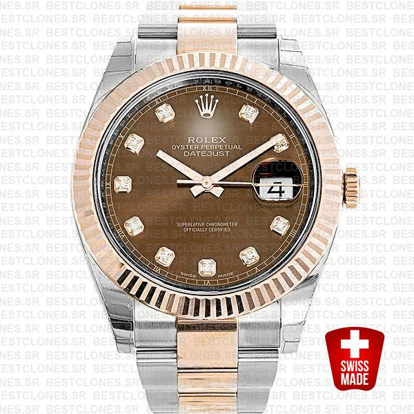 Rolex Datejust 41 Oyster 2 Tone 18k Rose Gold Fluted Bezel Chocolate Dial Diamond Markers 126331 Swiss Replica