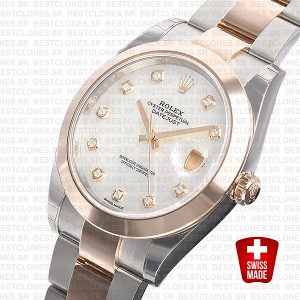 Rolex Datejust 41 Oyster 2 Tone 18k Rose Gold Smooth Bezel White Mop Dial Diamond Markers 126301 Swiss Replica