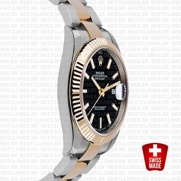 Rolex Datejust 41 Oyster 2 Tone 18k Yellow Gold Fluted Bezel Black Dial Stick Markers 126333 Swiss Replica