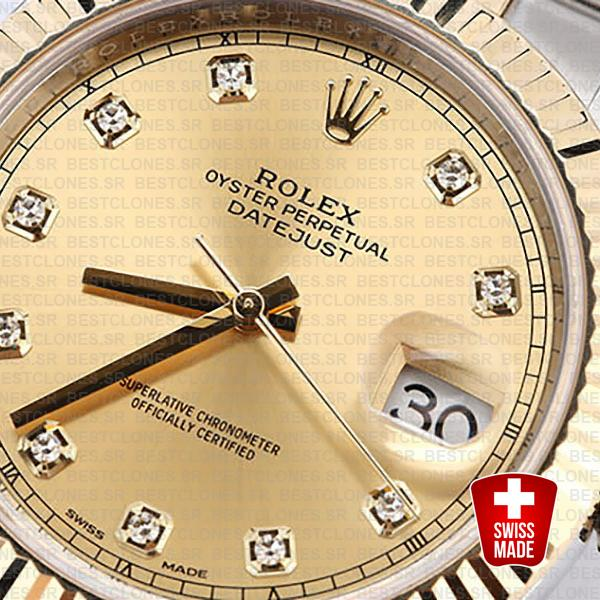 Rolex Datejust 41 Oyster 2 Tone 18k Yellow Gold Fluted Bezel Gold Dial Diamond Markers 126333 Swiss Replica