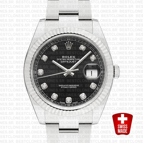 Rolex Datejust 41 Oyster 904l Steel 18k W Gold Fluted Bezel Black Dial Diamond Markers 126334 Swiss Replica