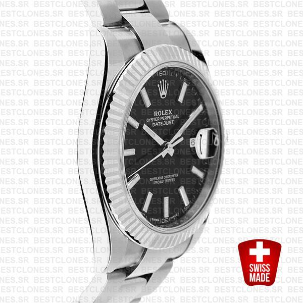 Rolex Datejust 41 Oyster 904l Steel 18k W Gold Fluted Bezel Black Dial Stick Markers 126334 Swiss Replica