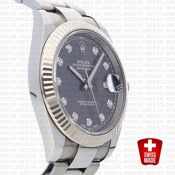 Rolex Datejust 41 Oyster Steel 18k W Gold Fluted Bezel Dark Rhodium Grey Dial Diamond Markers 126334