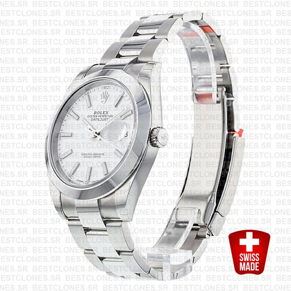 Rolex Datejust 41 Oyster Steel Smooth Bezel White Dial Stick Markers 126300