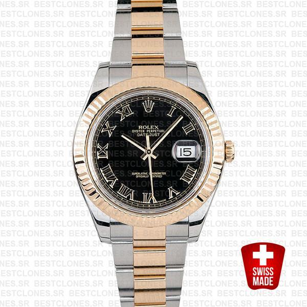 Rolex Datejust Ii 2 Tone Black Dial Gold Roman Markers 41mm 116333 Swiss Replica