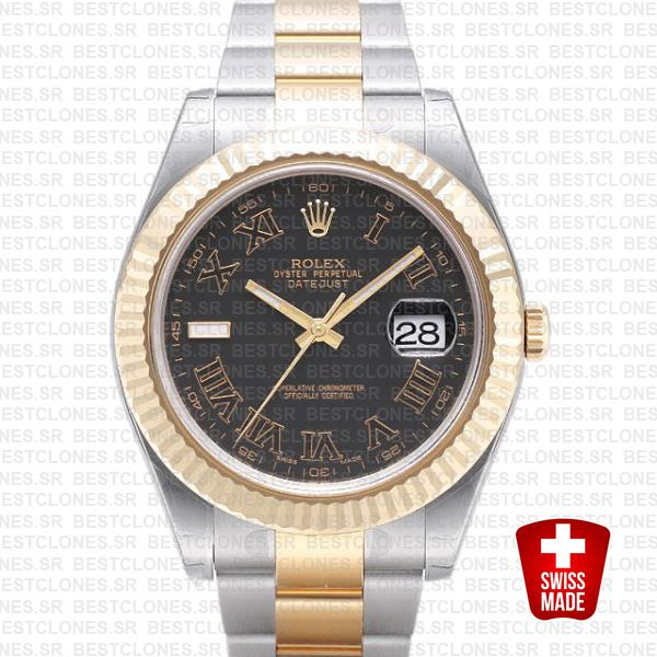 Rolex Datejust Ii 2 Tone Black Roman 41mm 116333 Swiss Replica