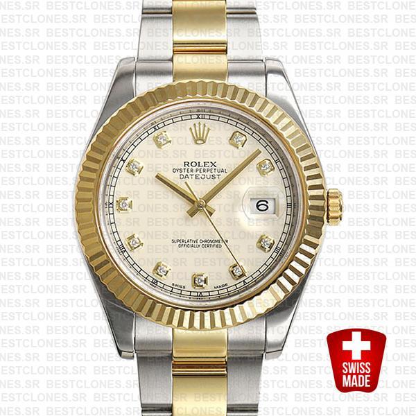 Rolex Datejust Ii 2 Tone Diamond Markers White Dial 41mm 116333 Swiss Replica