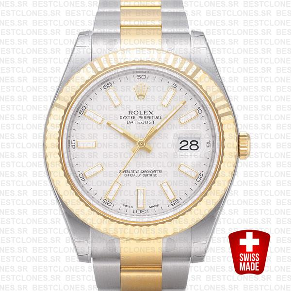 Rolex Datejust Ii 2 Tone White 41mm 116333 Swiss Replica