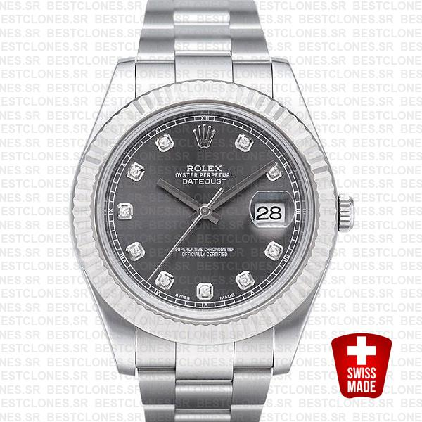 Rolex Datejust Ii Steel 18k White Gold Black Diamonds 41mm 116334 Swiss Replica