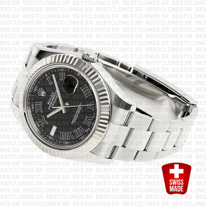 Rolex Datejust Ii Steel 18k White Gold Black Roman 41mm 116334 Swiss Replica