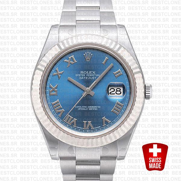 Rolex Datejust Ii Steel 18k White Gold Blue Roman 41mm 116334 Swiss Replica Replica