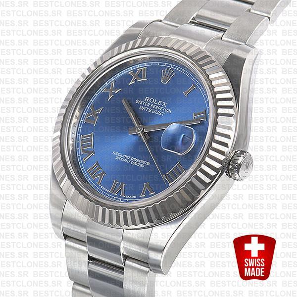 Rolex Datejust Ii Steel 18k White Gold Blue Roman 41mm 116334 Swiss Replica Replica