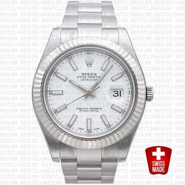 Rolex Datejust Ii Steel 18k White Gold White 41mm 116334 Swiss Replica