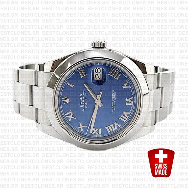 Rolex Datejust Ii Steel Blue Dial Roman Markers 41mm 116300