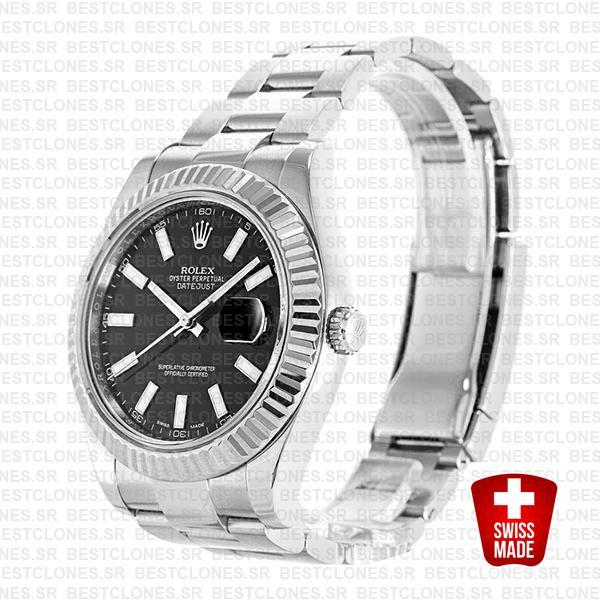 Rolex Datejust Ii Steel White Gold Black 41mm 116334 Swiss Replica