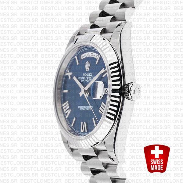 Rolex Day Date 40 White Gold Blue Roman 40mm 228239 Swiss Replica