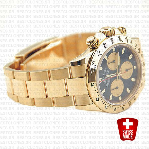 Rolex 116528 Daytona Yellow Gold Black Dial Gold Subdials 40mm Swiss Replica