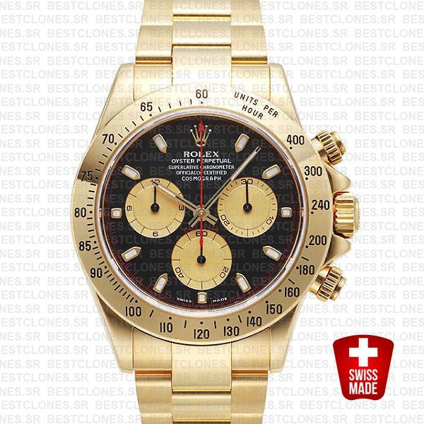 Rolex 116528 Daytona Yellow Gold Black Dial Gold Subdials 40mm Swiss Replica