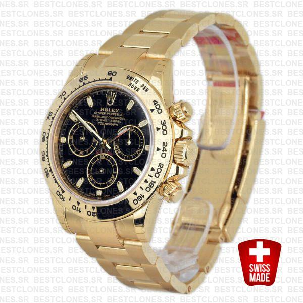 Rolex Cosmograph Daytona 116528 Gold Black Swiss Replica