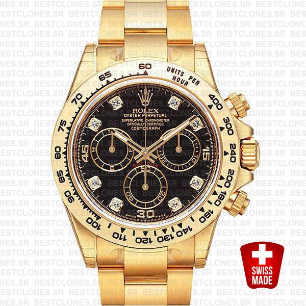 Rolex Cosmograph Daytona 18k Yellow Gold Wrap 904l Steel Diamond Black Dial 40mm Ref:116508 Swiss Replica Watch